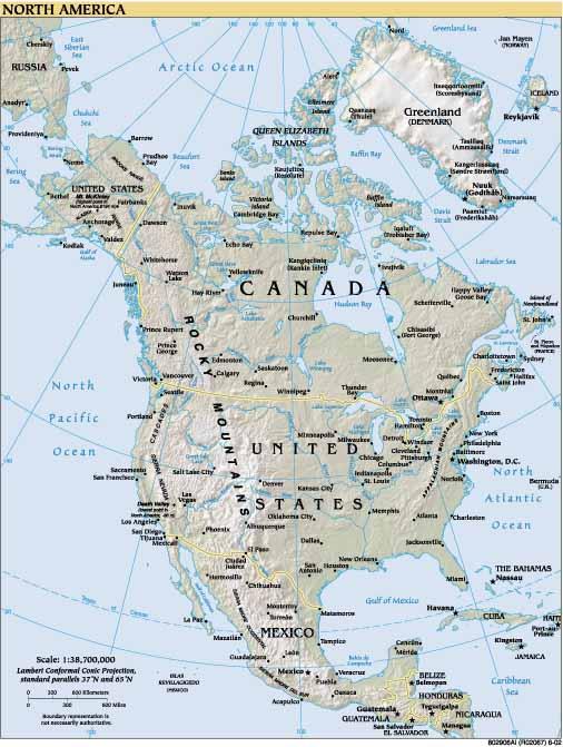 Mapa Amrica del Norte Mapa fsicopoltico