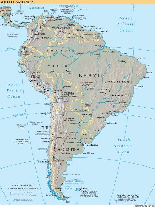 Mapa Amrica del Sur Mapa fsicopoltico